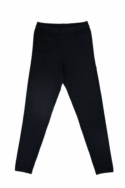 Cotton w Cashmere Leggings - Black
