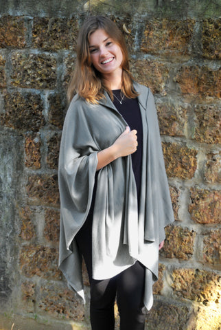 Cotton w Cashmere Knit - Hoodie Shawl - Flannel  Gray