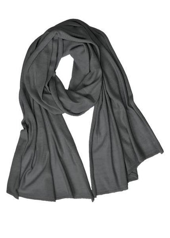Cotton w Cashmere Scarf - Ash Gray