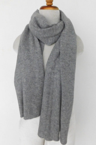 Cashmere w merino knit scarf - Light Gray