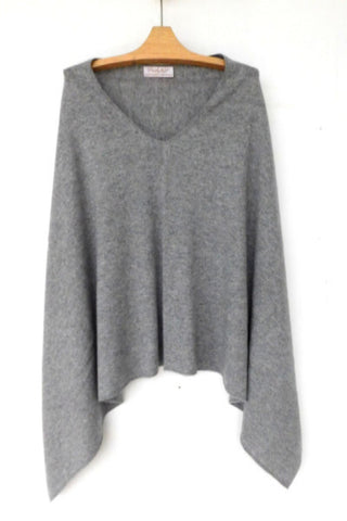 Cashmere w merino knit poncho - Light Gray