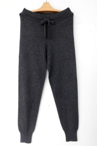 Cashmere w Merino Knit Sport Pants - Dark Gray