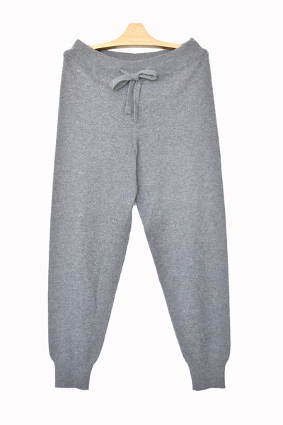 Cashmere w Merino Knit Sport Pants - Light Gray