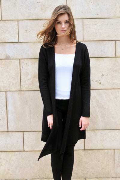 Cashmere w Merino Knit Long Cardigan - Black - ETA Nov 30