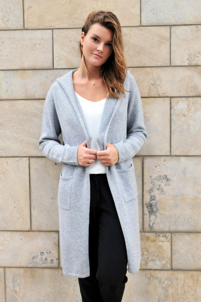 Cashmere w Merino Knit Hoodie Cardigan - Light Gray