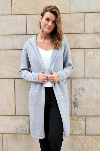 Cashmere w Merino Knit Hoodie Cardigan - Light Gray  - ETA Jul 30