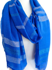 Merino & Silk Block Island Stripe Scarf in Blue