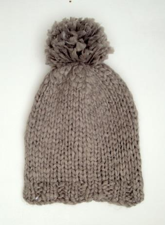 Acrylic Knit Cap - Light gray