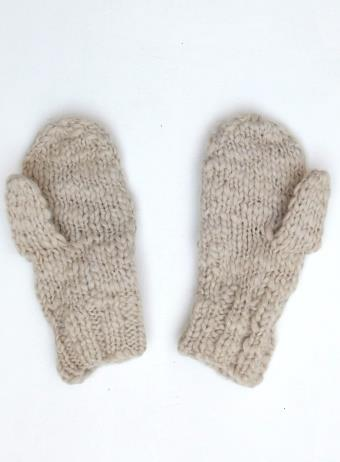 Acrylic Knit Mittens - Cream