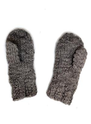 Acrylic Knit Mittens - Light Gray