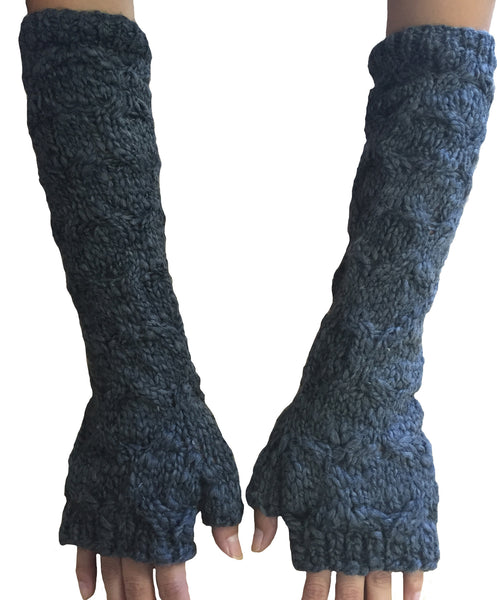 Cable knit long gloves - Charcoal