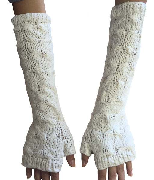 Cable knit long gloves - winter white