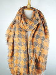 Interlocking Plaid Scarf - Orange w Gray