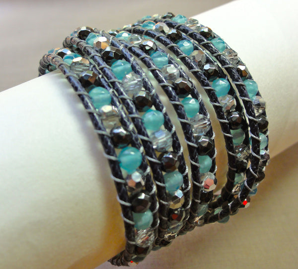 Labradorite, jade and crystal wrap bracelet
