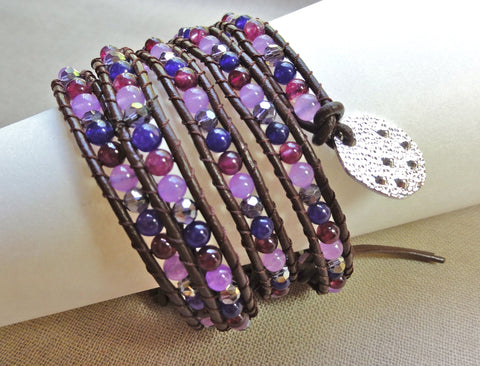Amethyst, Jade and Crystal Wrap Bracelet