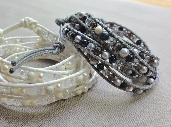 Grey pearl, labradorite and crystal wrap bracelet