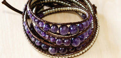 Amethyst with sterling wrap bracelet 34""