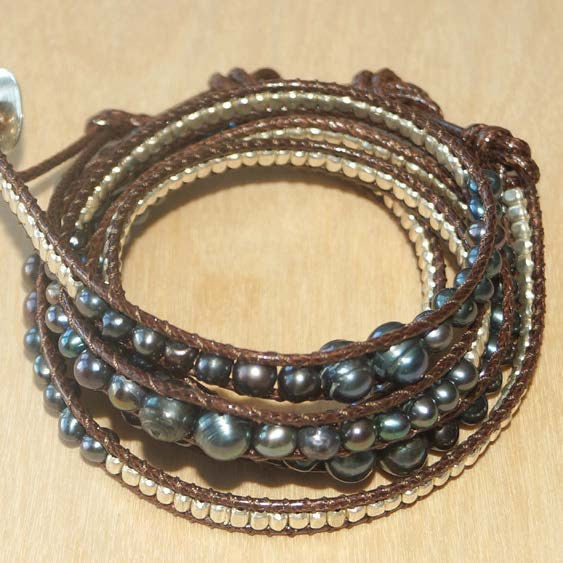 Black pearl w/ sterling wrap bracelet 34""