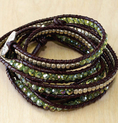 Peridot crystal with sterling wrap bracelet