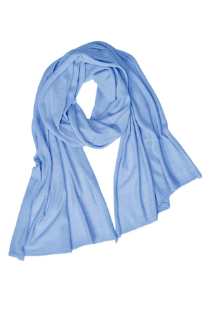Cotton w Cashmere Scarf - Soft Blue