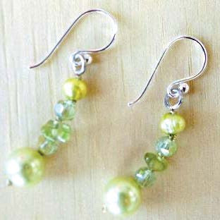 Lime pearl and crystal earrings