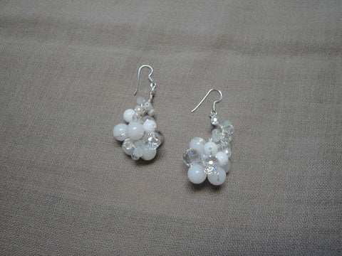 White jade with pearl and crystal drop earrings