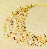Maxi-cascade orange mix crystal, gem and pearl necklace - tourmaline