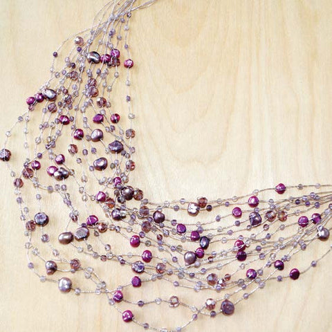 Maxi-cascade crystal, gem and pearl necklace- amethyst
