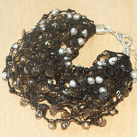 Chunky Black Bracelet with Agate, Pearl and Crystal