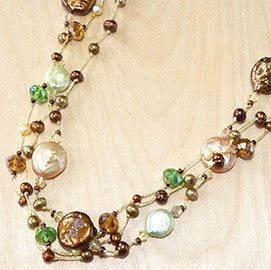 "Green mix coin pearl with crystal 30"" necklace"