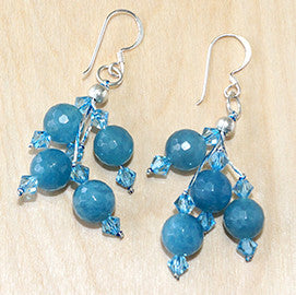 Aquamarine Blue and Cystal Drop Earrings