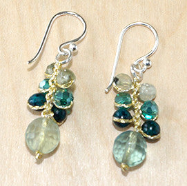 Jade, aventurine and turquoise drop earring