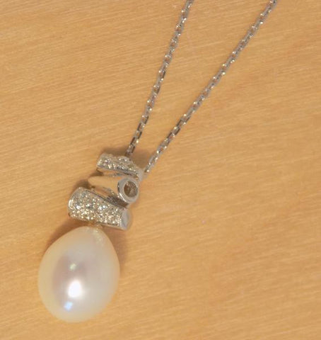 8mm CLW pearl w/ CZ stacked pendant
