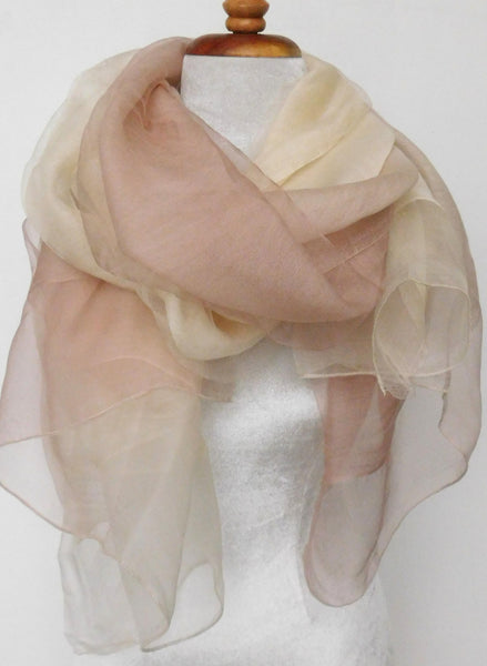 Soft double layer silk w wool ombre scarf in White Pink