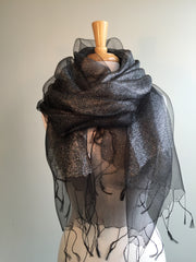 Silk & Lurex Scarf Wrap in Black w Silver