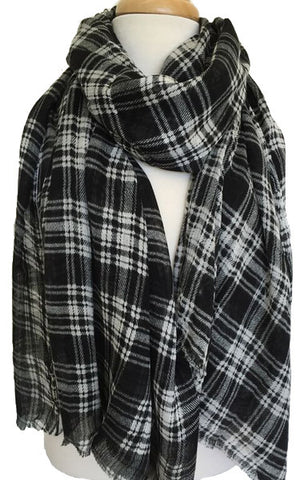 Boxy Plaid Scarf in Black