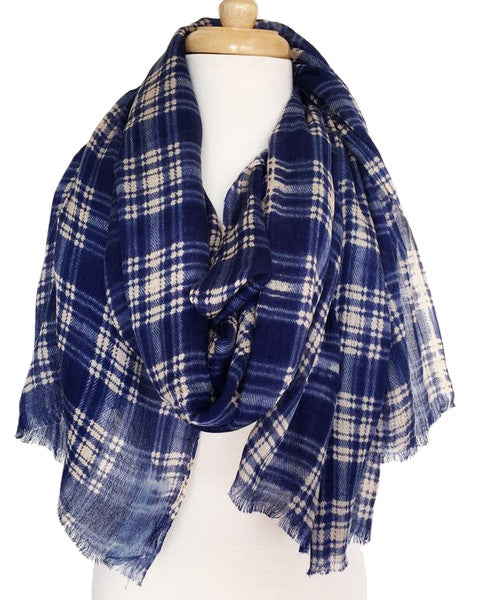 Boxy Plaid Scarf in Blue