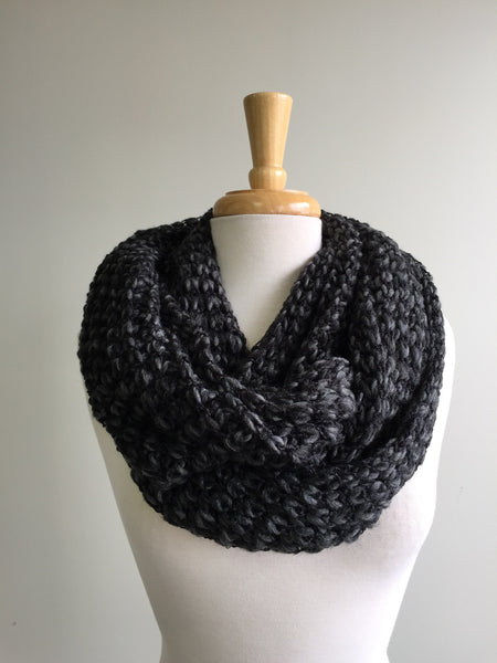 Multi-color Knit Infinity Scarf in Charcoal