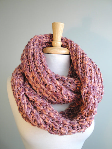 Multi-color Knit Infinity Scarf in Primrose pink