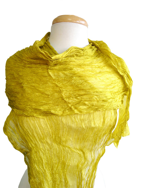 Long Crinkled Silk Scarf in Icelandic Chartreuse