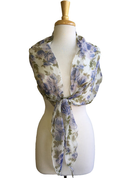 Dreamy Floral Chiffon Scarf in Blue