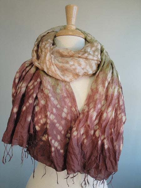 Raindrop Pattern Large Silk Scarf in brown w green
