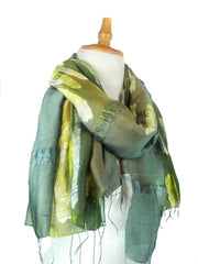 Thai Cotton Silk Art - Green Streaks