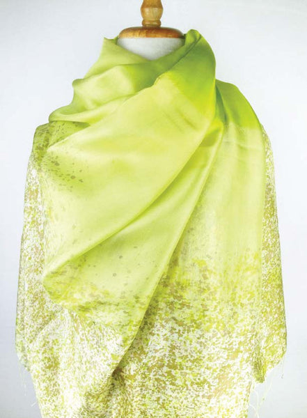 Hand-painted Thai Silk Art - Lime Ombre