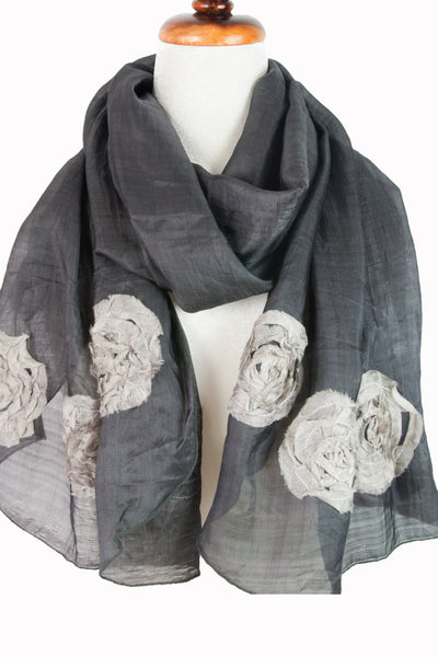 Silk w floral relief - Charcoal