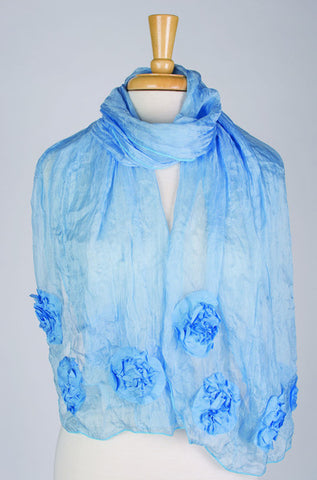 Silk w floral relief - Horizon Blue