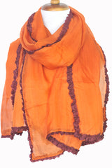 Silk w Ruffle Border Scarf - Orange