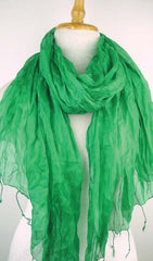 Crinkled Silk Scarves - Green