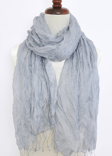 Crinkled Silk Scarves - Light Gray