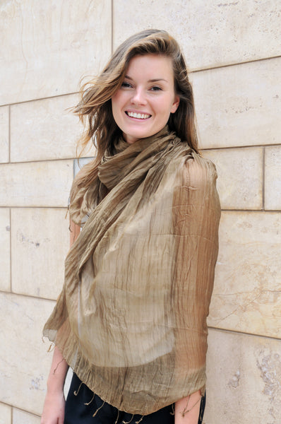 Crinkled Silk Scarves - Olive Green
